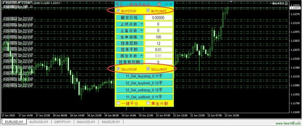 mt4一键挂单面板3.0版本执行挂单 CCheckBox 选框介绍